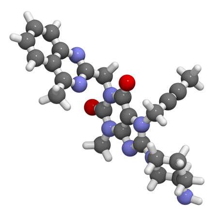 Linagliptin diabetes drug molecule
