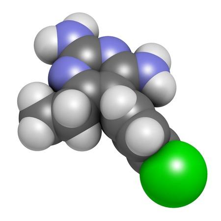 Pyrimethamine malaria drug molecule LANG_EVOIMAGES