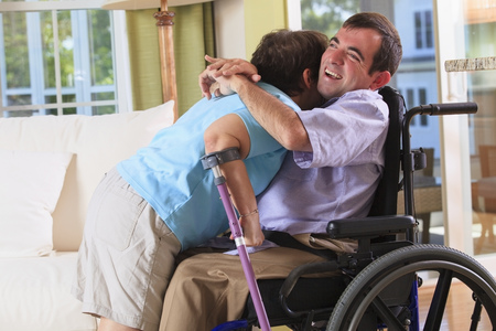 cerebral palsy: Couple with Cerebral Palsy hugging