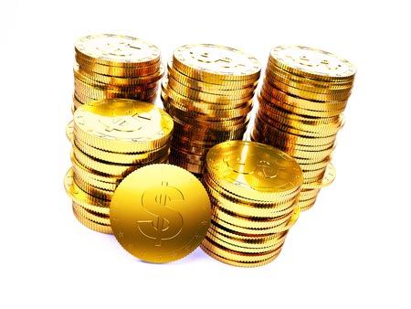 Golden US dollar coins, Illustration LANG_EVOIMAGES