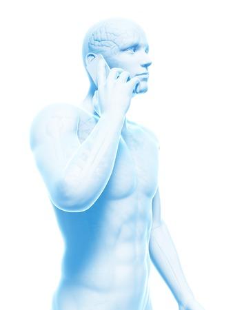 riesgo biologico: Teléfono celular y el cerebro humano, ilustración