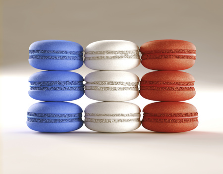 stereotypically: Blue, white and red macaroons
