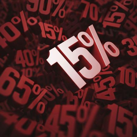 per cent: Fifteen per cent discount, illustration
