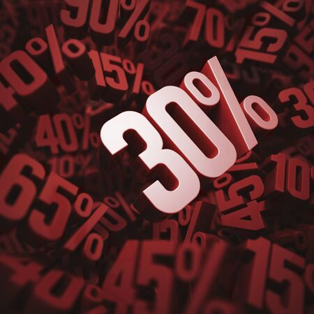 per cent: Thirty per cent discount, illustration