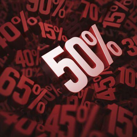 per cent: Fifty per cent discount, illustration