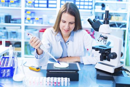 petri: Scientist testing milk sample