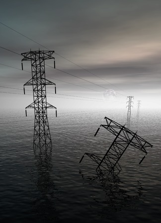 submerging: Electricity pylons in water, illustration