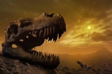 Illustration of ptilodus and T rex skull LANG_EVOIMAGES