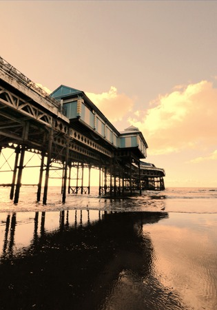 lancashire: Pier with sea, Blackpool, UK