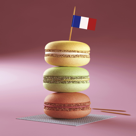 stereotypically: Macaroons with French flag