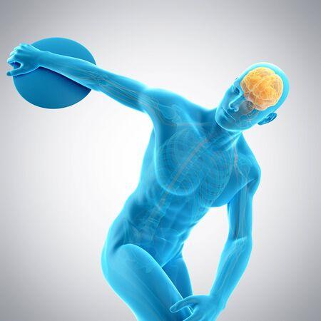 discus: Brain of athlete throwing discus, illustration
