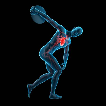 discus: Anatomy of athlete throwing discus, illustration
