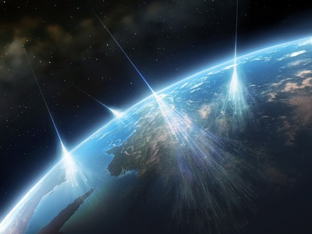 gamma radiation: Artwork of Cosmic Rays Hitting Earth