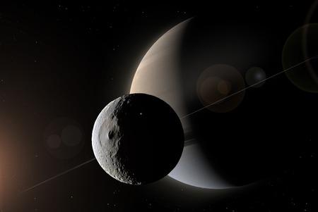 Artwork of Saturn and Mimas