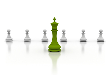 pawns: Green chess piece and pawns