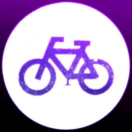 one lane road sign: Glowing neon bicycle sign