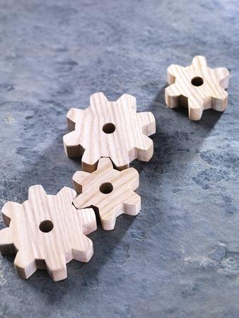interlocking: Interlocking wooden cogwheels