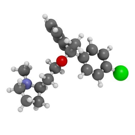 anticholinergic: Clemastine antihistamine drug molecule