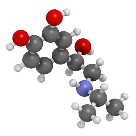 Isoprenaline (isoproterenol) drug molecule. Used in treatment of bradycardia,heart block and asthma. 3D rendering. Atoms are represented as spheres with conventional colour coding: hydrogen (white),carbon (grey),nitrogen (blue),oxygen (red) LANG_EVOIMAGES