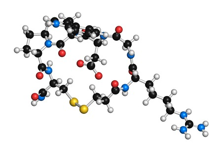 Eptifibatide anticoagulant drug molecule. 3D rendering. Atoms are represented as spheres with conventional colour coding: hydrogen (white),carbon (black),nitrogen (blue),oxygen (red),sulfur (yellow) LANG_EVOIMAGES