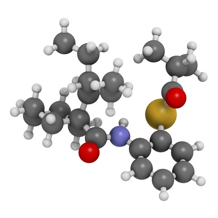 Dalcetrapib hypercholesterolemia drug molecule. 3D rendering. Atoms are represented as spheres with conventional colour coding: hydrogen (white),carbon (grey),nitrogen (blue),oxygen (red),sulfur (yellow)