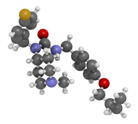 Pimavanserin atypical antipsychotic drug molecule. 3D rendering. Atoms are represented as spheres with conventional colour coding: hydrogen (white),carbon (grey),nitrogen (blue),oxygen (red),fluorine (gold) LANG_EVOIMAGES