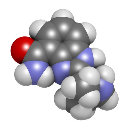 Veliparib cancer drug molecule (PARP inhibitor). 3D rendering. Atoms are represented as spheres with conventional colour coding: hydrogen (white),carbon (grey),nitrogen (blue),oxygen (red)
