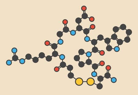 Eptifibatide anticoagulant drug molecule. Stylized skeletal formula (chemical structure): Atoms are shown as color-coded circles: hydrogen (hidden),carbon (grey),nitrogen (blue),oxygen (red),sulfur (yellow)