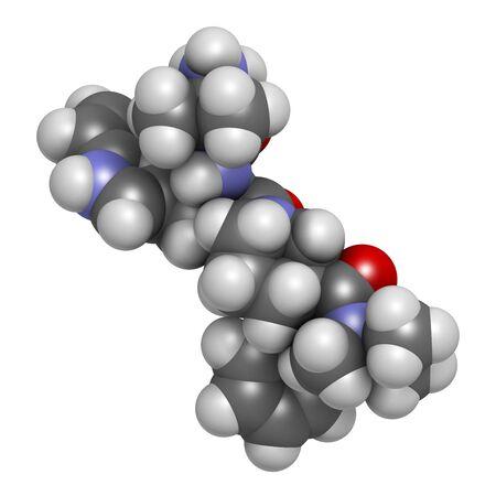Anamorelin-Krebs-Kachexie und Anorexie-Wirkstoffmolekül. 3D-Rendering. Atome werden als Kugeln mit konventioneller Farbcodierung dargestellt: Wasserstoff (weiß), Kohlenstoff (grau), Stickstoff (blau), Sauerstoff (rot)