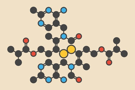 Sulbutiamine asthenia drug molecule. Also used in nutritional supplements. Stylized skeletal formula (chemical structure): Atoms are shown as color-coded circles: hydrogen (hidden),carbon (grey),oxygen (red),nitrogen (blue),sulfur (yellow) LANG_EVOIMAGES
