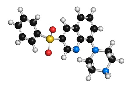 acetylcholine: Intepirdine Alzheimers disease drug molecule. 3D rendering. Atoms are represented as spheres with conventional colour coding: hydrogen (white),carbon (black),nitrogen (blue),oxygen (red),sulfur (yellow)