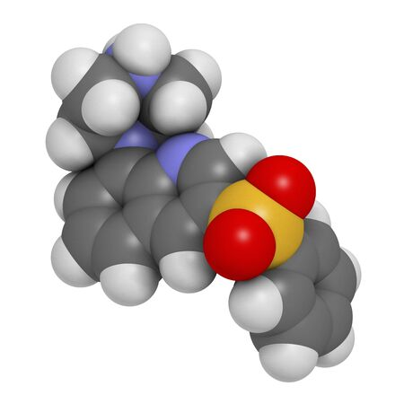 Intepirdine Alzheimers disease drug molecule. 3D rendering. Atoms are represented as spheres with conventional colour coding: hydrogen (white),carbon (grey),nitrogen (blue),oxygen (red),sulfur (yellow) LANG_EVOIMAGES
