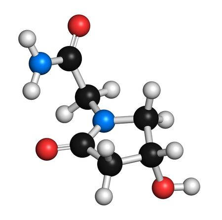 enhancer: Oxiracetam nootropic drug molecule. 3D rendering. Atoms are represented as spheres with conventional colour coding: hydrogen (white),carbon (black),oxygen (red),nitrogen (blue)
