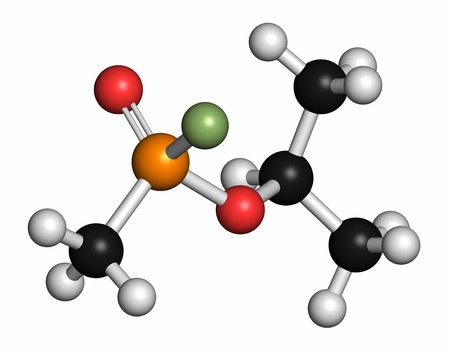 acetylcholine: Sarin nerve agent molecule (chemical weapon). Atoms are represented as spheres with conventional colour coding: hydrogen (white),carbon (grey),oxygen (red),phosphorus (orange),fluorine (light green)