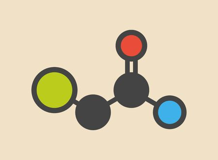 Chloroacetamide preservative molecule. Stylized skeletal formula (chemical structure): Atoms are shown as color-coded circles: hydrogen (hidden),carbon (grey),oxygen (red),nitrogen (blue),chlorine (green)