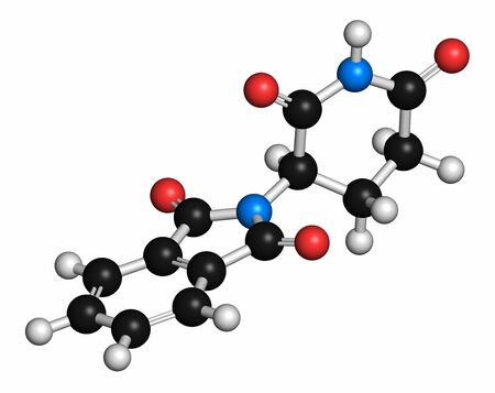 Thalidomide theratogenic drug molecule. Initially used as antiemetic to treat morning sickness in pregnant women but found to cause serious birth defects. Still used in treatment of multiple myeloma. Atoms are represented as spheres with conventional colo