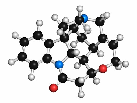 Strychnine poisonous alkaloid molecule. Isolated from Strychnos nux-vomica tree. Atoms are represented as spheres with conventional colour coding: hydrogen (white),carbon (grey),oxygen (red),nitrogen (blue)