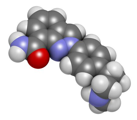 Niraparib cancer drug molecule (PARP inhibitor). 3D rendering. Atoms are represented as spheres with conventional colour coding: hydrogen (white),carbon (grey),nitrogen (blue),oxygen (red)