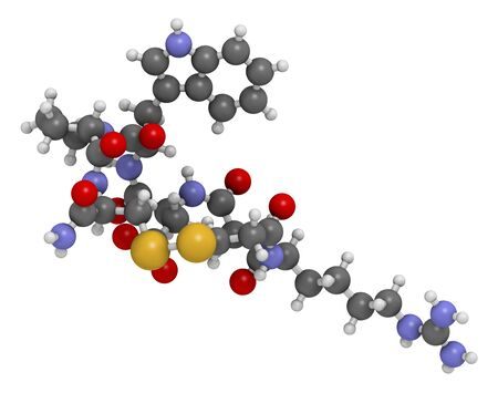 serpiente de cascabel: Eptifibatide anticoagulant drug molecule. 3D rendering. Atoms are represented as spheres with conventional colour coding: hydrogen (white),carbon (grey),nitrogen (blue),oxygen (red),sulfur (yellow)