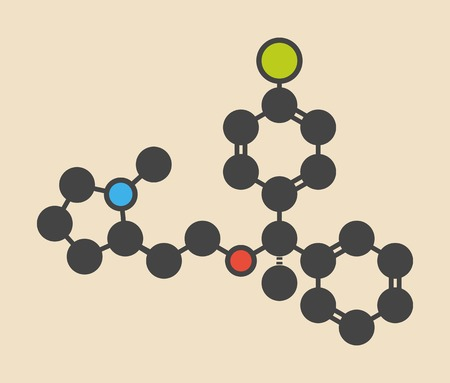 anticholinergic: Clemastine (meclastine) antihistamine drug molecule. Used to treat allergy and itching. Stylized skeletal formula (chemical structure): Atoms are shown as color-coded circles: hydrogen (hidden),carbon (grey),nitrogen (blue),oxygen (red),chlorine (green)
