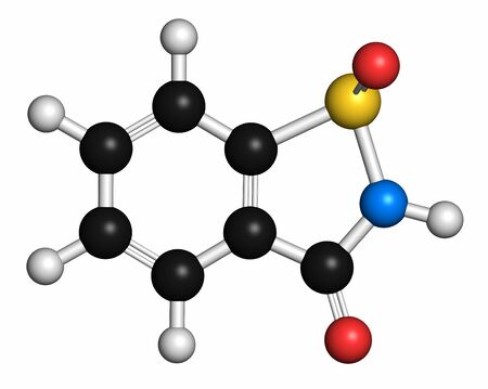 aftertaste: Saccharin artificial sweetener molecule (sugar substitute). Atoms are represented as spheres with conventional colour coding: hydrogen (white),carbon (grey),oxygen (red),nitrogen (blue),sulfur (yellow)