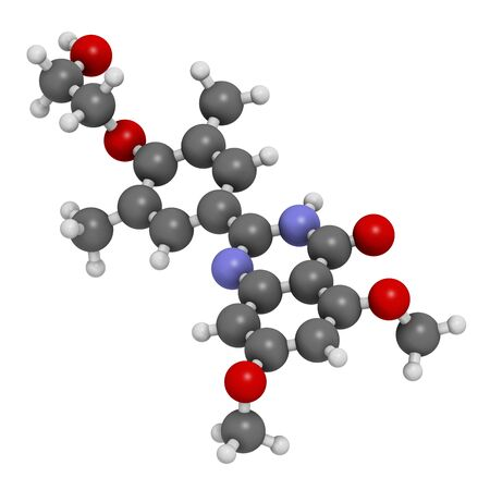 additional chemicals: Apabetalone atherosclerosis drug molecule (BET inhibitor). 3D rendering. Atoms are represented as spheres with conventional colour coding: hydrogen (white),carbon (grey),nitrogen (blue),oxygen (red)