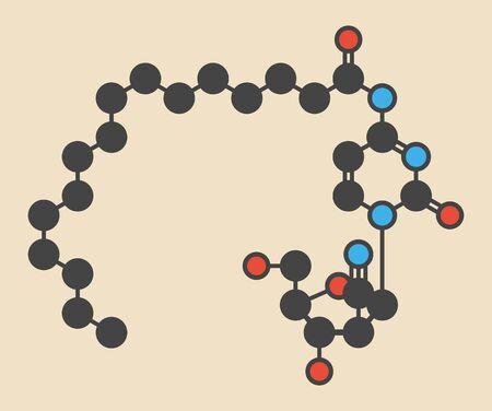 leucemia: La molécula de droga de cáncer de Sapacitabina (análogo de nucleósido). Fórmula esquelética estilizada (estructura química): Los átomos se muestran como círculos con códigos de colores: hidrógeno (oculto), carbono (gris), nitrógeno (azul), oxígeno (rojo)