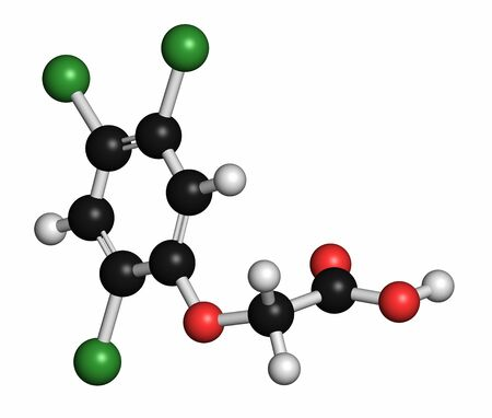 acetic acid: 2,4,5-trichlorophenoxyacetic acid (2,4,5-T) herbicide molecule. Ingredient of Agent Orange. Atoms are represented as spheres with conventional colour coding: hydrogen (white),carbon (grey),oxygen (red),chlorine (green)
