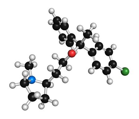 anticholinergic: Clemastine (meclastine) antihistamine drug molecule. Used to treat allergy and itching. 3D rendering. Atoms are represented as spheres with conventional colour coding: hydrogen (white),carbon (black),nitrogen (blue),oxygen (red),chlorine (green) LANG_EVOIMAGES