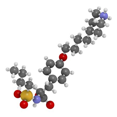 Tirofiban anticoagulant drug molecule. 3D rendering. Atoms are represented as spheres with conventional colour coding: hydrogen (white),carbon (grey),nitrogen (blue),oxygen (red),sulfur (yellow)