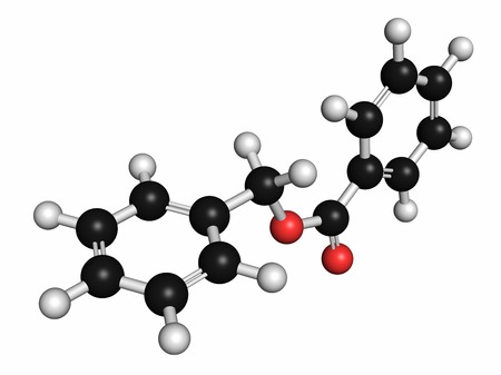 benzoic: Benzyl benzoate drug molecule. Used as acaricide,scabicide,etc. Atoms are represented as spheres with conventional colour coding: hydrogen (white),carbon (grey),oxygen (red) LANG_EVOIMAGES