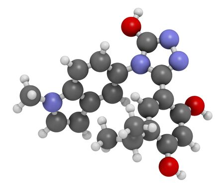 leucemia: Ganetespib cancer drug molecule (HSP90 inhibitor). 3D rendering. Atoms are represented as spheres with conventional colour coding: hydrogen (white),carbon (grey),nitrogen (blue),oxygen (red)