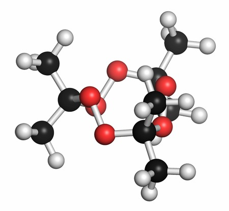 Triacetone triperoxide (TATP,acetone peroxide) explosive molecule. Atoms are represented as spheres with conventional colour coding: hydrogen (white),carbon (grey),oxygen (red) LANG_EVOIMAGES