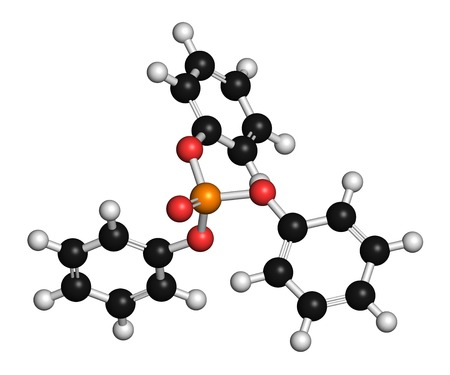 Triphenyl phosphate molecule. Used as flame retardant and plasticizer. 3D rendering. Atoms are represented as spheres with conventional colour coding: hydrogen (white),carbon (black),oxygen (red),phosphorus (orange)